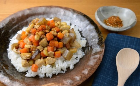 大豆とこんにゃくの炒り煮丼